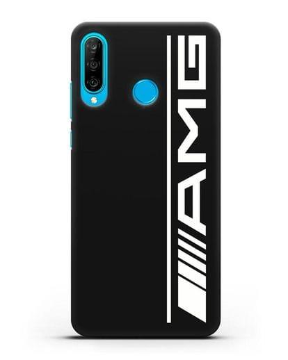 Чехол с логотипом AMG силикон черный для Huawei P30 Lite