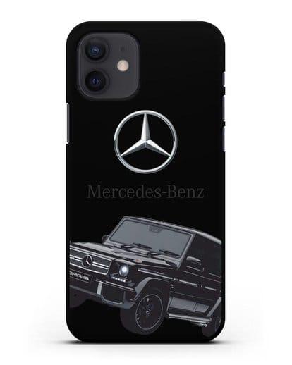 Чехол с картинкой Мерседес Гелендваген силикон черный для iPhone 12