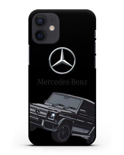Чехол с картинкой Мерседес Гелендваген силикон черный для iPhone 12 mini