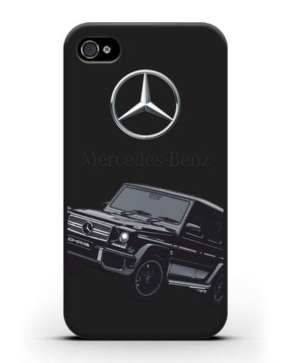 Чехол с картинкой Мерседес Гелендваген силикон черный для iPhone 4/4s