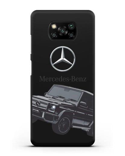 Чехол с картинкой Мерседес Гелендваген силикон черный для Xiaomi Poco X3