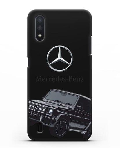 Чехол с картинкой Мерседес Гелендваген силикон черный для Samsung Galaxy A01 [SM-A015F]