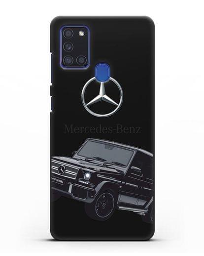 Чехол с картинкой Мерседес Гелендваген силикон черный для Samsung Galaxy A21s [SM-A217F]