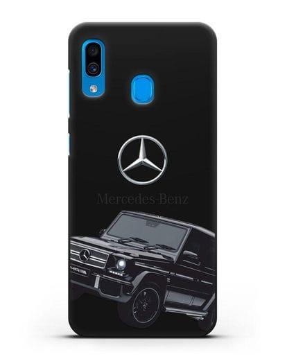 Чехол с картинкой Мерседес Гелендваген силикон черный для Samsung Galaxy A30 [SM-A305FN]