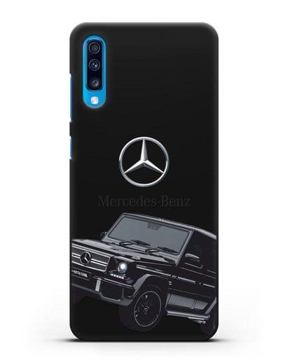 Чехол с картинкой Мерседес Гелендваген силикон черный для Samsung Galaxy A70 [SM-A705F]