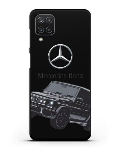 Чехол с картинкой Мерседес Гелендваген силикон черный для Samsung Galaxy A12 [SM-A125F]