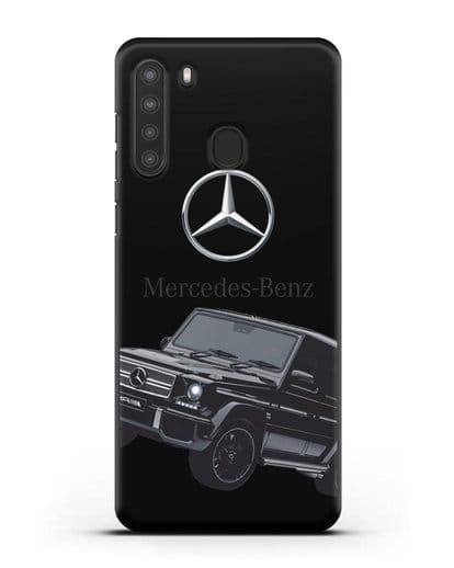 Чехол с картинкой Мерседес Гелендваген силикон черный для Samsung Galaxy A21 [SM-A215]