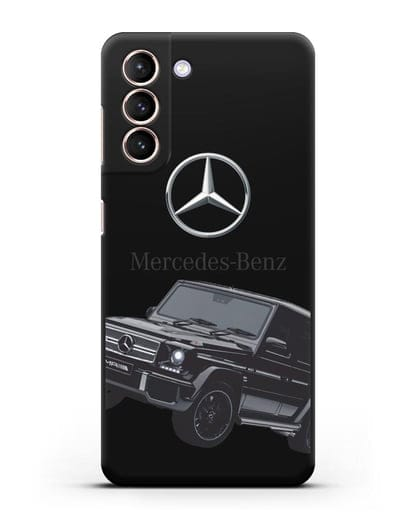 Чехол с картинкой Мерседес Гелендваген силикон черный для Samsung Galaxy S21 [SM-G991B]