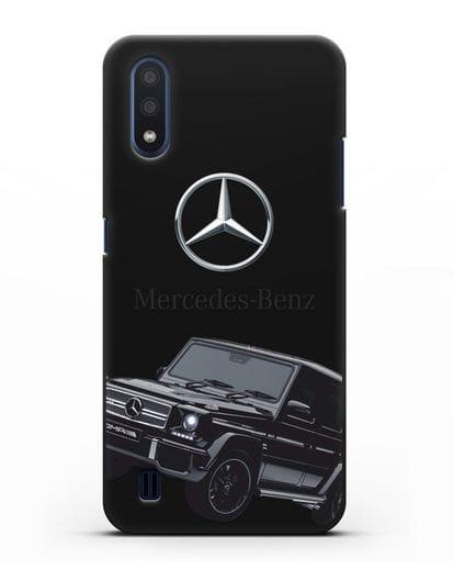 Чехол с картинкой Мерседес Гелендваген силикон черный для Samsung Galaxy M01 [SM-M015F]