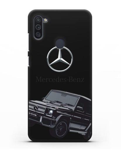 Чехол с картинкой Мерседес Гелендваген силикон черный для Samsung Galaxy M11 [SM-M115F]