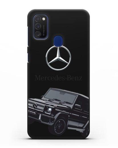 Чехол с картинкой Мерседес Гелендваген силикон черный для Samsung Galaxy M21 [SM-M215F]
