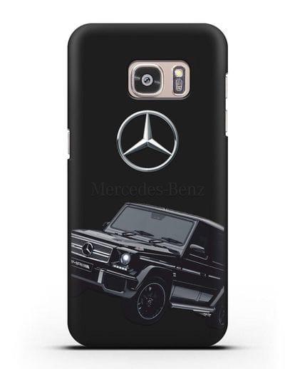 Чехол с картинкой Мерседес Гелендваген силикон черный для Samsung Galaxy S7 [SM-G930F]