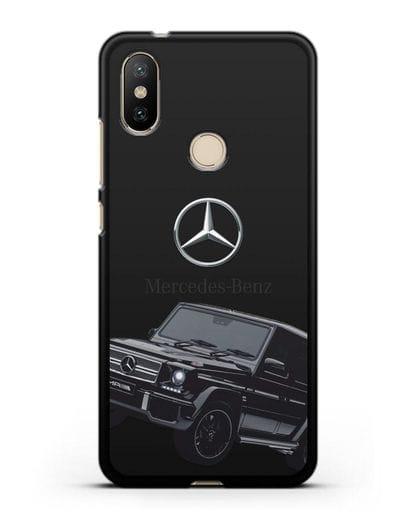 Чехол с картинкой Мерседес Гелендваген силикон черный для Xiaomi Mi A2