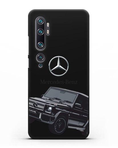 Чехол с картинкой Мерседес Гелендваген силикон черный для Xiaomi Mi Note 10