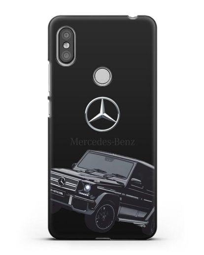 Чехол с картинкой Мерседес Гелендваген силикон черный для Xiaomi Redmi S2