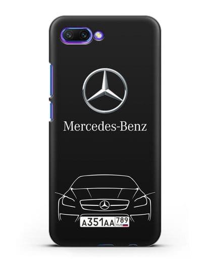 Чехол Mercedes Benz с автомобильным номером силикон черный для Honor 10