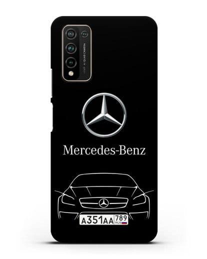 Чехол Mercedes Benz с автомобильным номером силикон черный для Honor 10X Lite