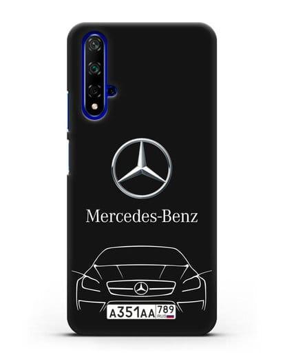 Чехол Mercedes Benz с автомобильным номером силикон черный для Honor 20