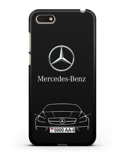 Чехол Mercedes Benz с автомобильным номером силикон черный для Honor 7А