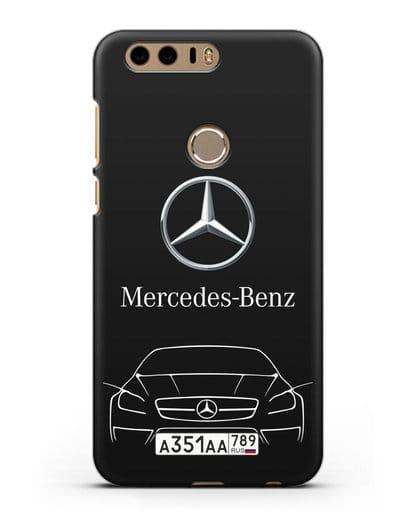 Чехол Mercedes Benz с автомобильным номером силикон черный для Honor 8
