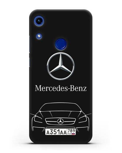 Чехол Mercedes Benz с автомобильным номером силикон черный для Honor 8A