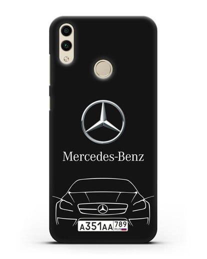 Чехол Mercedes Benz с автомобильным номером силикон черный для Honor 8C
