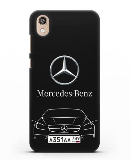 Чехол Mercedes Benz с автомобильным номером силикон черный для Honor 8S