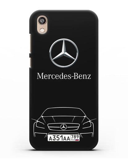 Чехол Mercedes Benz с автомобильным номером силикон черный для Honor 8S Prime