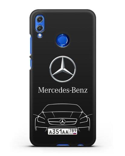 Чехол Mercedes Benz с автомобильным номером силикон черный для Honor 8X