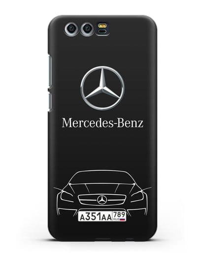 Чехол Mercedes Benz с автомобильным номером силикон черный для Honor 9