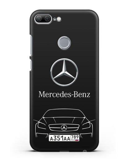 Чехол Mercedes Benz с автомобильным номером силикон черный для Honor 9 Lite
