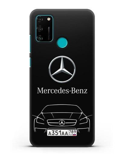 Чехол Mercedes Benz с автомобильным номером силикон черный для Honor 9A