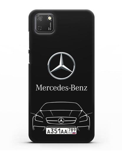Чехол Mercedes Benz с автомобильным номером силикон черный для Honor 9S