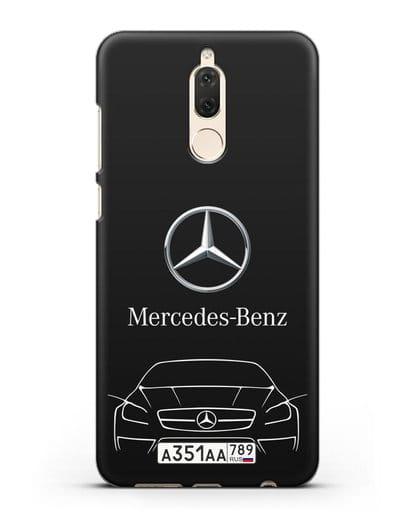 Чехол Mercedes Benz с автомобильным номером силикон черный для Huawei Mate 10 Lite