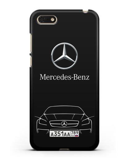 Чехол Mercedes Benz с автомобильным номером силикон черный для Huawei Y5 Prime 2018