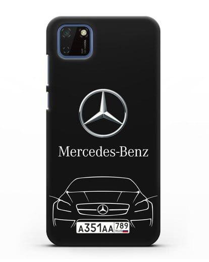 Чехол Mercedes Benz с автомобильным номером силикон черный для Huawei Y5P