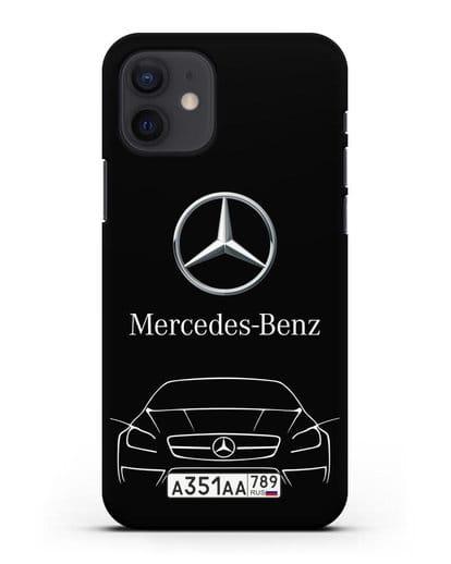 Чехол Mercedes Benz с автомобильным номером силикон черный для iPhone 12