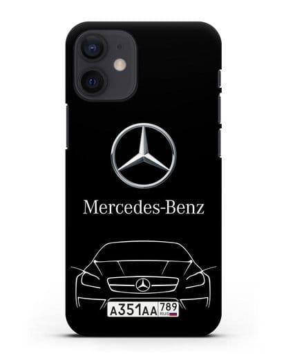 Чехол Mercedes Benz с автомобильным номером силикон черный для iPhone 12 mini
