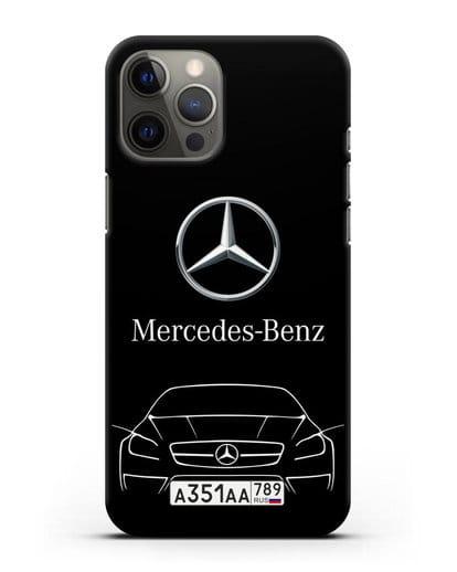Чехол Mercedes Benz с автомобильным номером силикон черный для iPhone 12 Pro Max