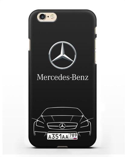 Чехол Mercedes Benz с автомобильным номером силикон черный для iPhone 6