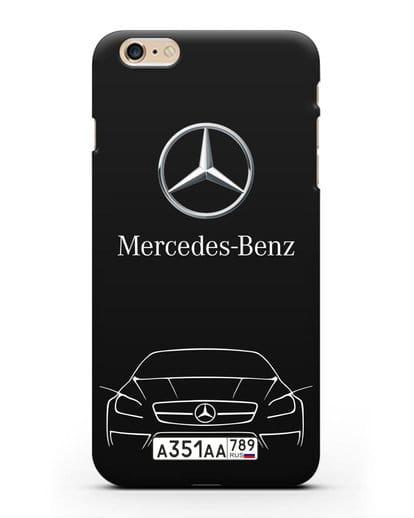 Чехол Mercedes Benz с автомобильным номером силикон черный для iPhone 6s Plus