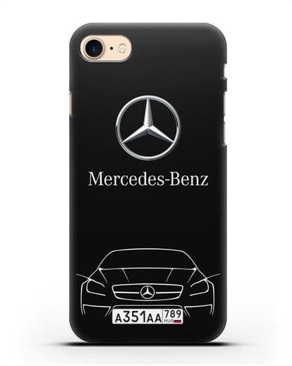 Чехол Mercedes Benz с автомобильным номером силикон черный для iPhone 8