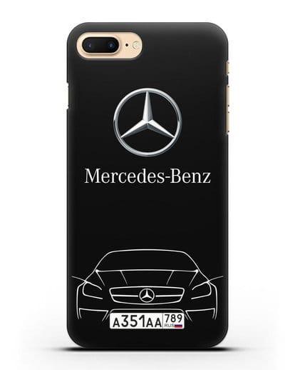 Чехол Mercedes Benz с автомобильным номером силикон черный для iPhone 7 Plus