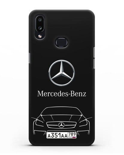 Чехол Mercedes Benz с автомобильным номером силикон черный для Samsung Galaxy A10s [SM-F107F]