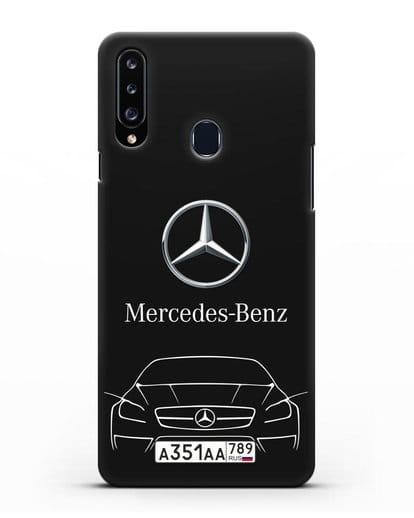 Чехол Mercedes Benz с автомобильным номером силикон черный для Samsung Galaxy A20s [SM-A207FN]