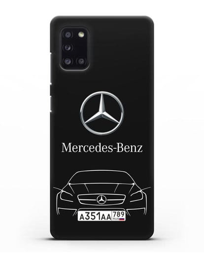 Чехол Mercedes Benz с автомобильным номером силикон черный для Samsung Galaxy A31 [SM-A315F]