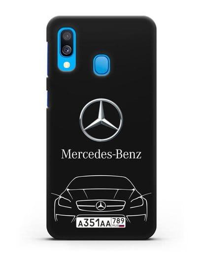 Чехол Mercedes Benz с автомобильным номером силикон черный для Samsung Galaxy A40 [SM-A405F]