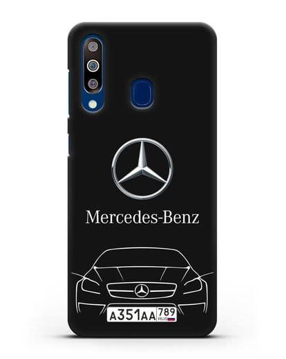 Чехол Mercedes Benz с автомобильным номером силикон черный для Samsung Galaxy A60 [SM-A606F]