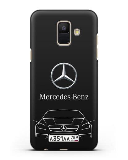Чехол Mercedes Benz с автомобильным номером силикон черный для Samsung Galaxy A6 2018 [SM-A600F]