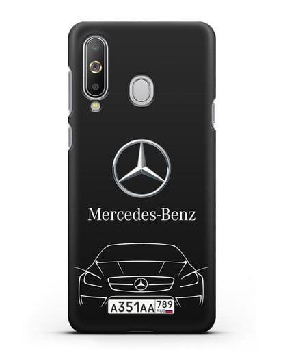 Чехол Mercedes Benz с автомобильным номером силикон черный для Samsung Galaxy A8s [SM-G8870]